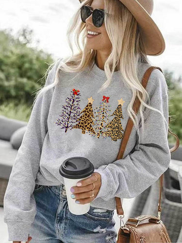 Leopard Printed Christmas Trees Sweatshirt