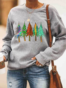 Christmas Trees Printed Sweatshirt