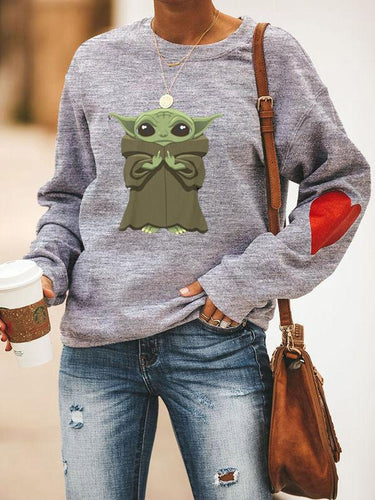 [PRE-SALE] Baby Yoda Heart On Sleeve Printed Sweatshirt
