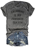 Swimming Is My Favorite Season Gray Tee