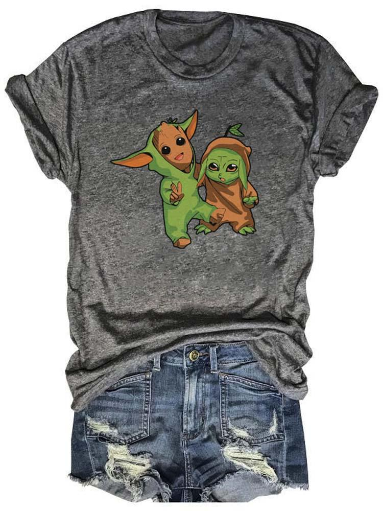 [PRE-SALE] Cartoon Baby Yoda And Groot Cosplay Each Other Gray Tee