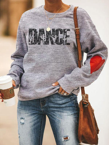 [PRE-SALE] Heart Design Dancer Silhouette Creative Print Sweatshirt