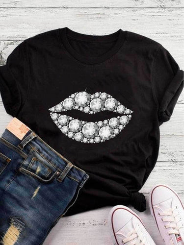 [PRE-SALE] White Diamond Lips Printed Black Tee
