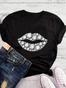 White Diamond Lips Printed Black Tee