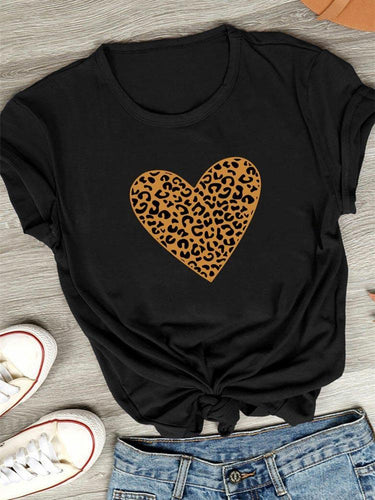 Leopard Heart Design Printed Tee
