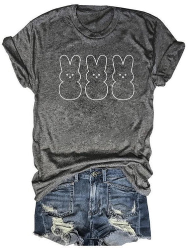 Cute Transparent Bunnies Gray Tee