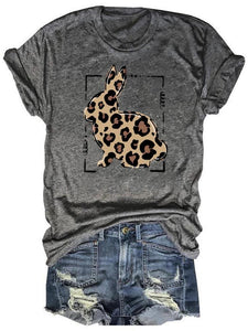 Cute Leopard Bunny Happy Easter Gray Tee
