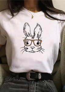 Cute Bunny Wearing Leopard Glasses White Tee