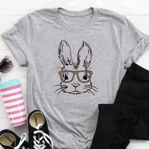 Cute Bunny Wearing Leopard Glasses Gray Tee