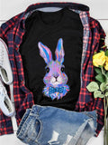 Blue Watercolored Bunny With Tie Black Tee