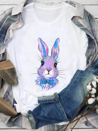 Blue Watercolored Bunny With Tie White Tee