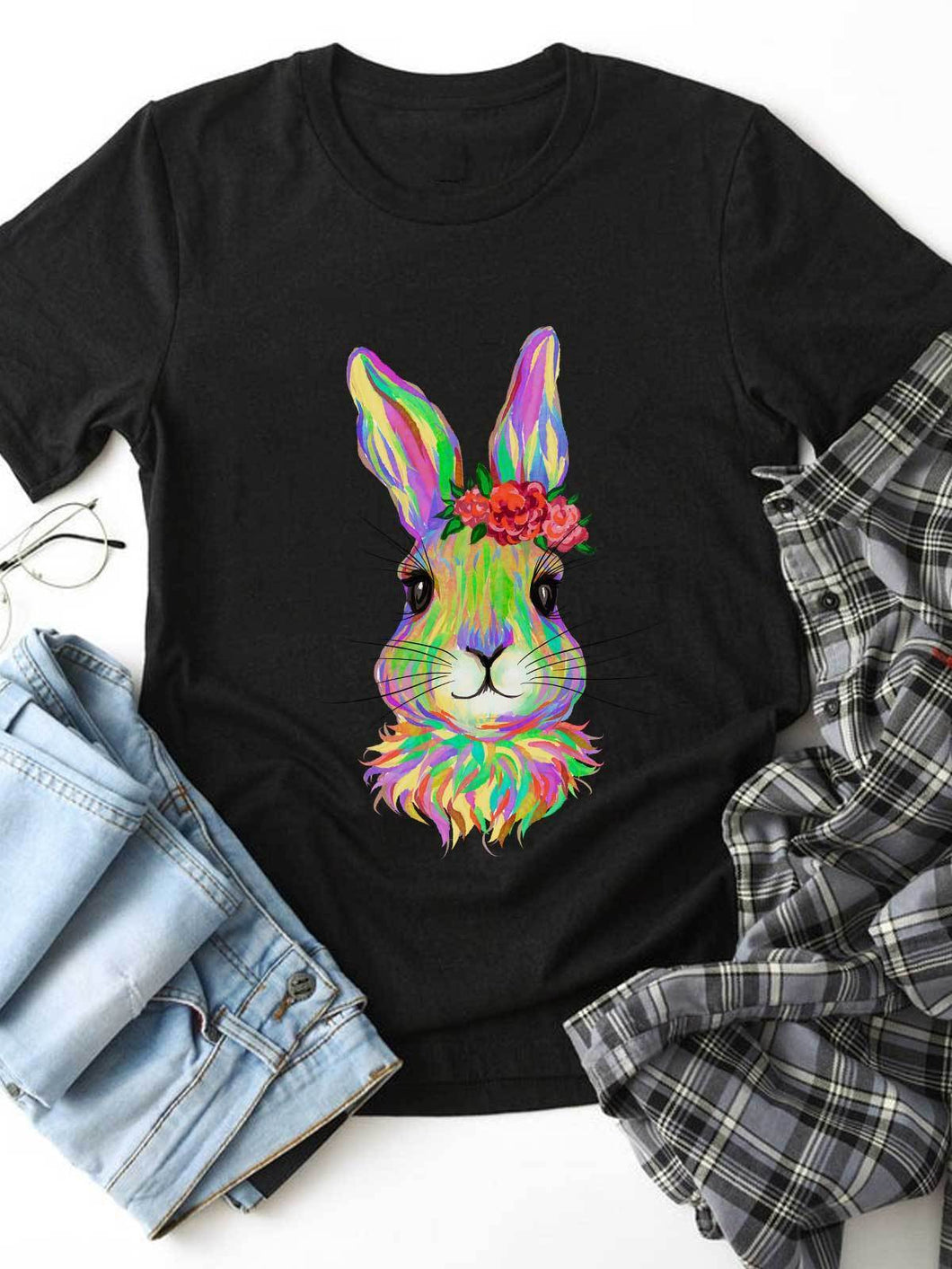 Colorful Watercolored Bunny With Flowers On Head Black Tee