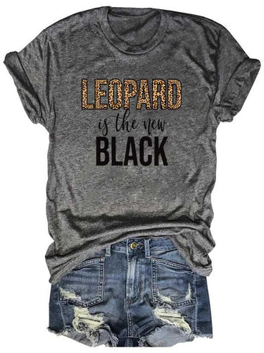 Leopard Is The New Black Printed Gray Tee