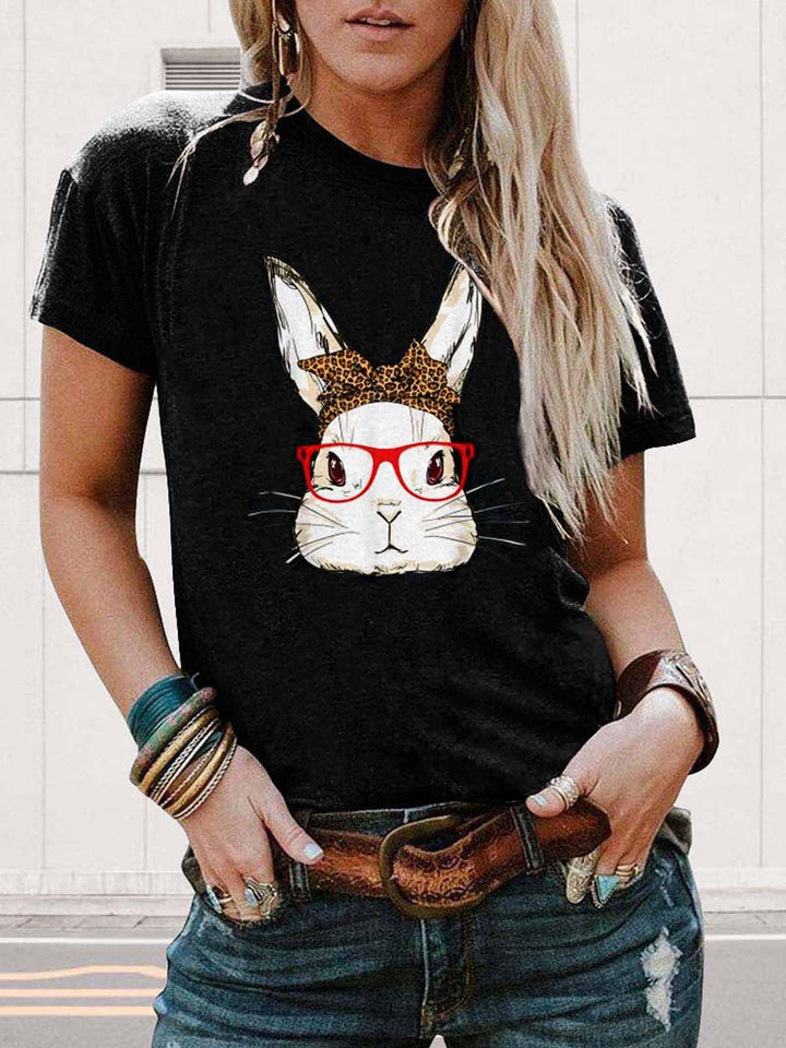 [PRE-SALE] Bunny With Red Glasses Leopard Butterfly Tie Black Tee