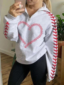 Baseball Sutures Heart Design Sweatshirt