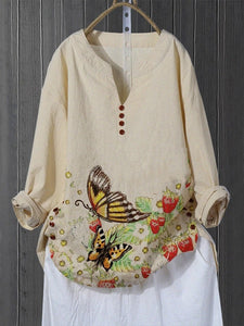 Flower Butterfly Retro Button T-Shirts