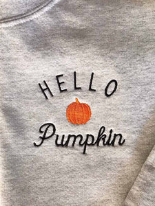 Hello Pumpkin Cotton Embroidered Sweatshirt