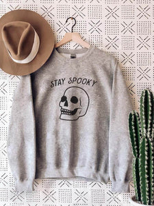 Stay Spooky Funny Skeleton Head Sweatshirt