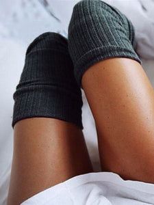 Solid Knitted Thigh-High Socks