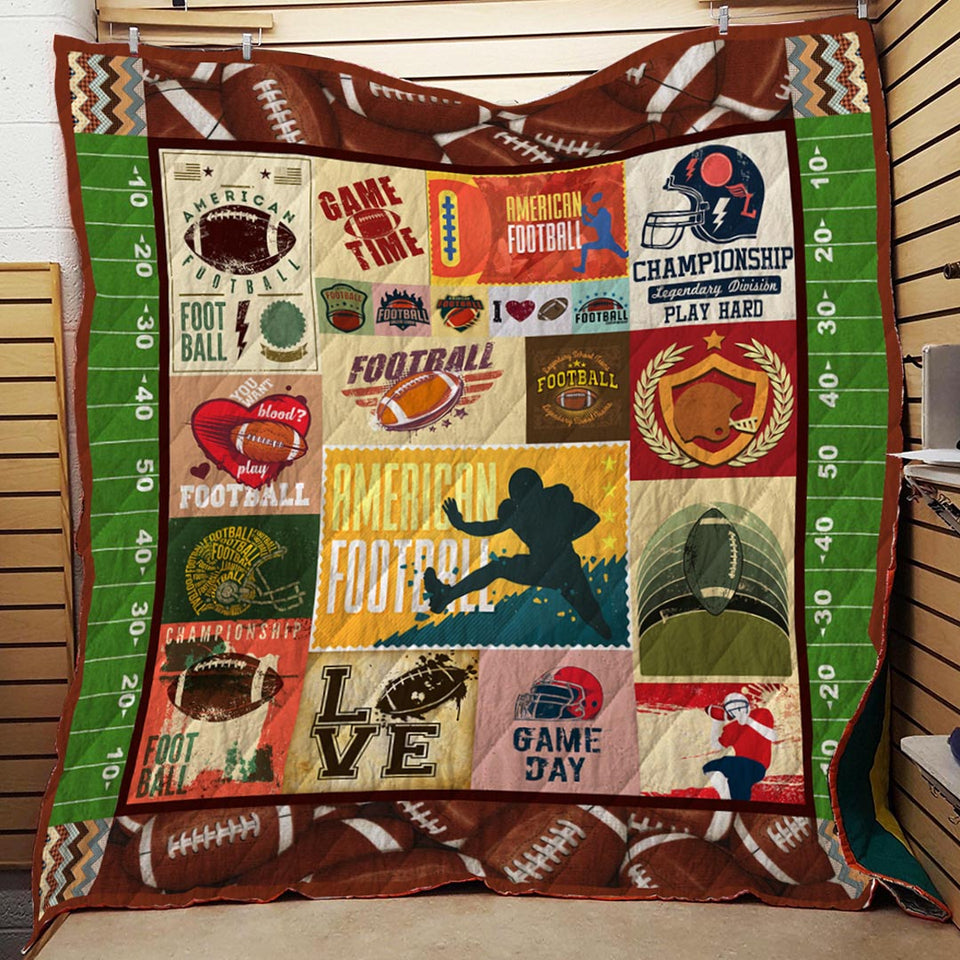 American Football Game Blanket Quilt