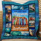 Surfboard Happy Surfing Blanket Quilt