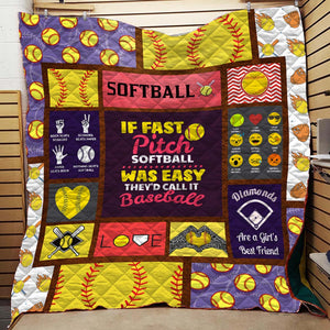 Fast Pitch Softball Blanket Quilt