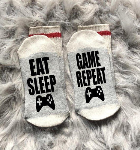 Eat Sleep Game Repeat Socks