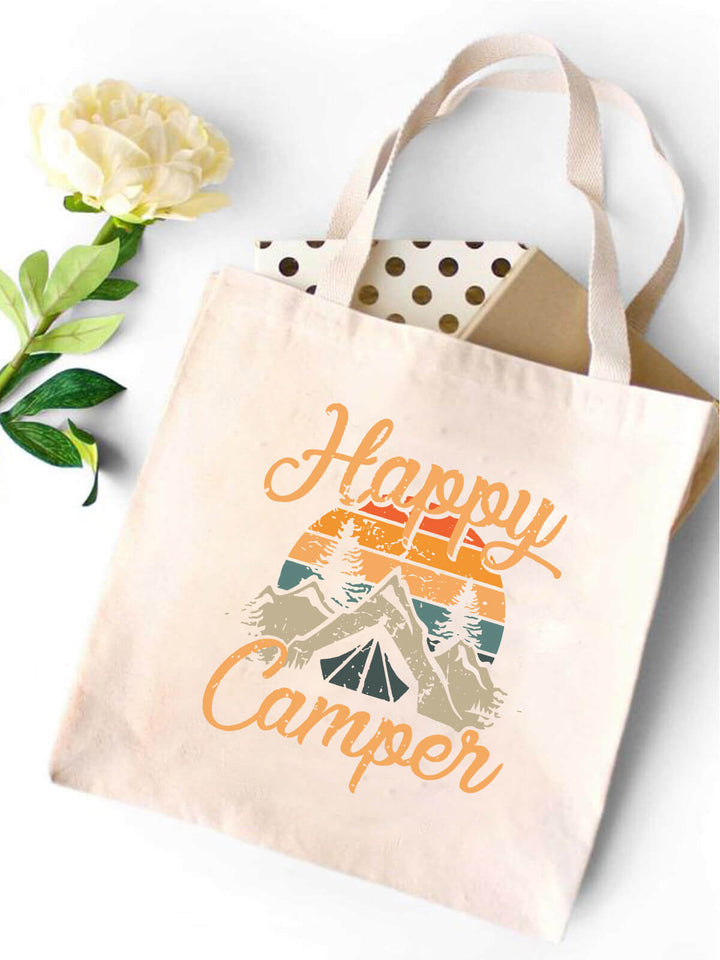 Happy Camper In Mountains Canvas Tote Bag