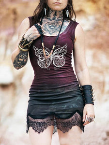 Ladies Butterfly Lace Stitching Dress