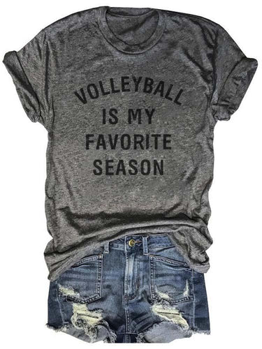 Volleyball Is My Favorite Season Gray Tee
