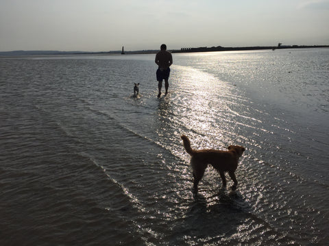 Man and dog at Camber Sands