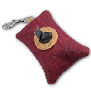 Cork poo bag pouch - burgundy