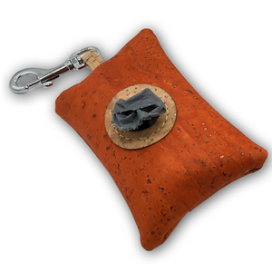 Cork poo bag pouch - cinnamon