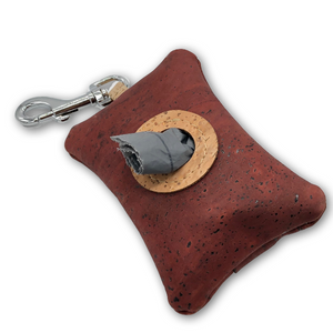 Cork poo bag pouch - rust