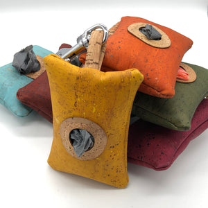 cork leather poo bag pouches