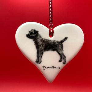 Border Terrier Ceramic Heart