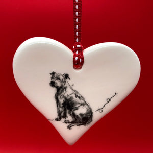 Staffy ceramic heart