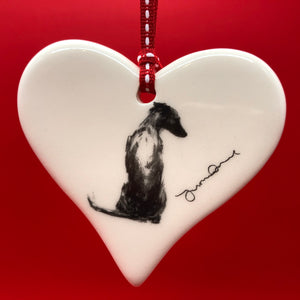 Whippet ceramic heart