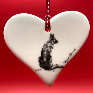 German Shepherd - ceramic heart