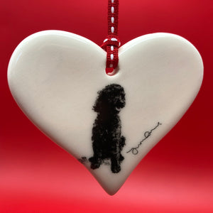 Poodle - ceramic heart
