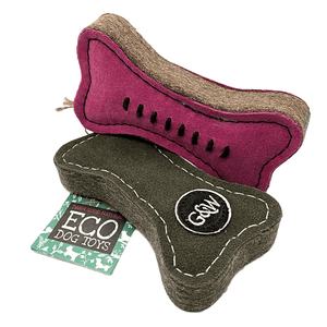 Pinkie & green bone eco friendly dog toy