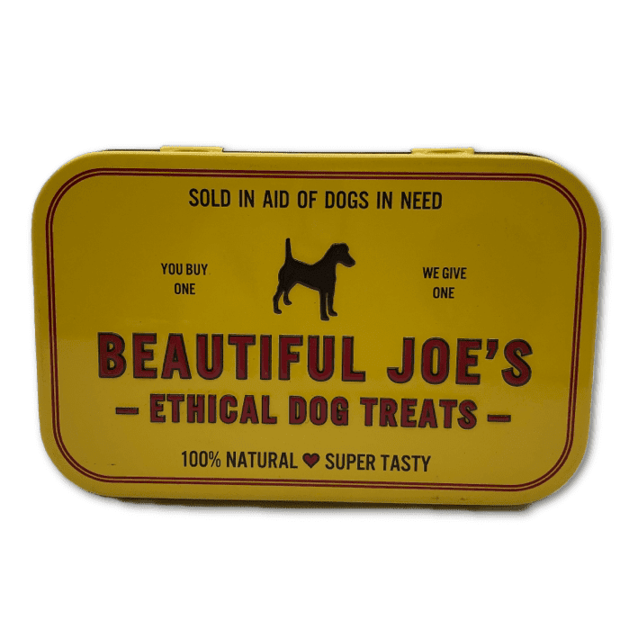 Beautiful Joe's dog treat tin