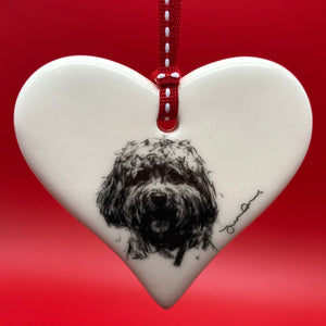 Cockapoo ceramic heart