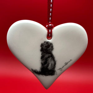 Working Spaniel ceramic heart