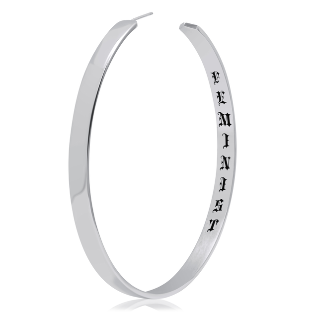 Personalized Hoop Earrings Feminist