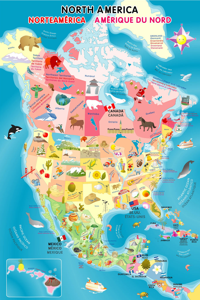 North America Map Puzzle Smart Play Educational Toys