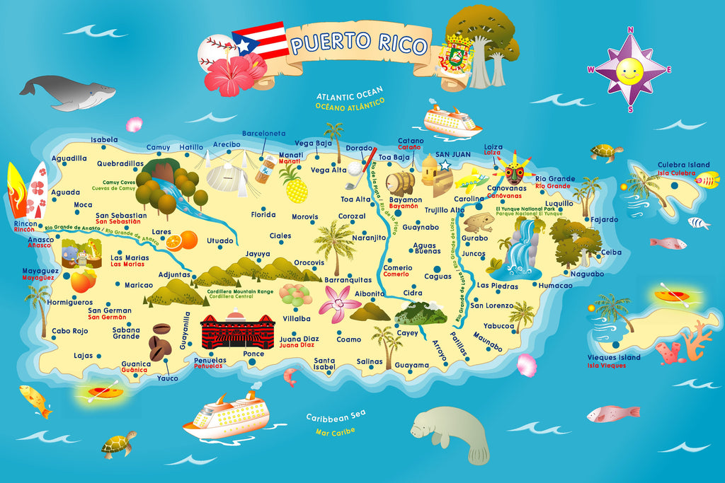 Puerto Rico Map Puzzle Smart Play Educational Toys - Puerto rico maps
