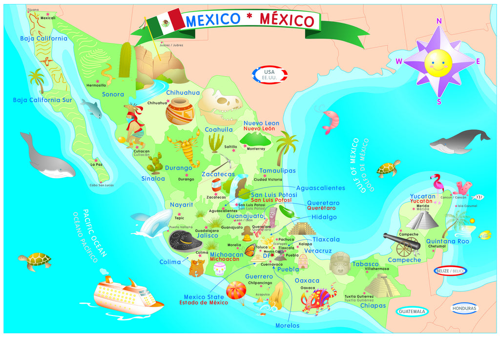 Mexico Map Puzzle Smart Play Educational Toys