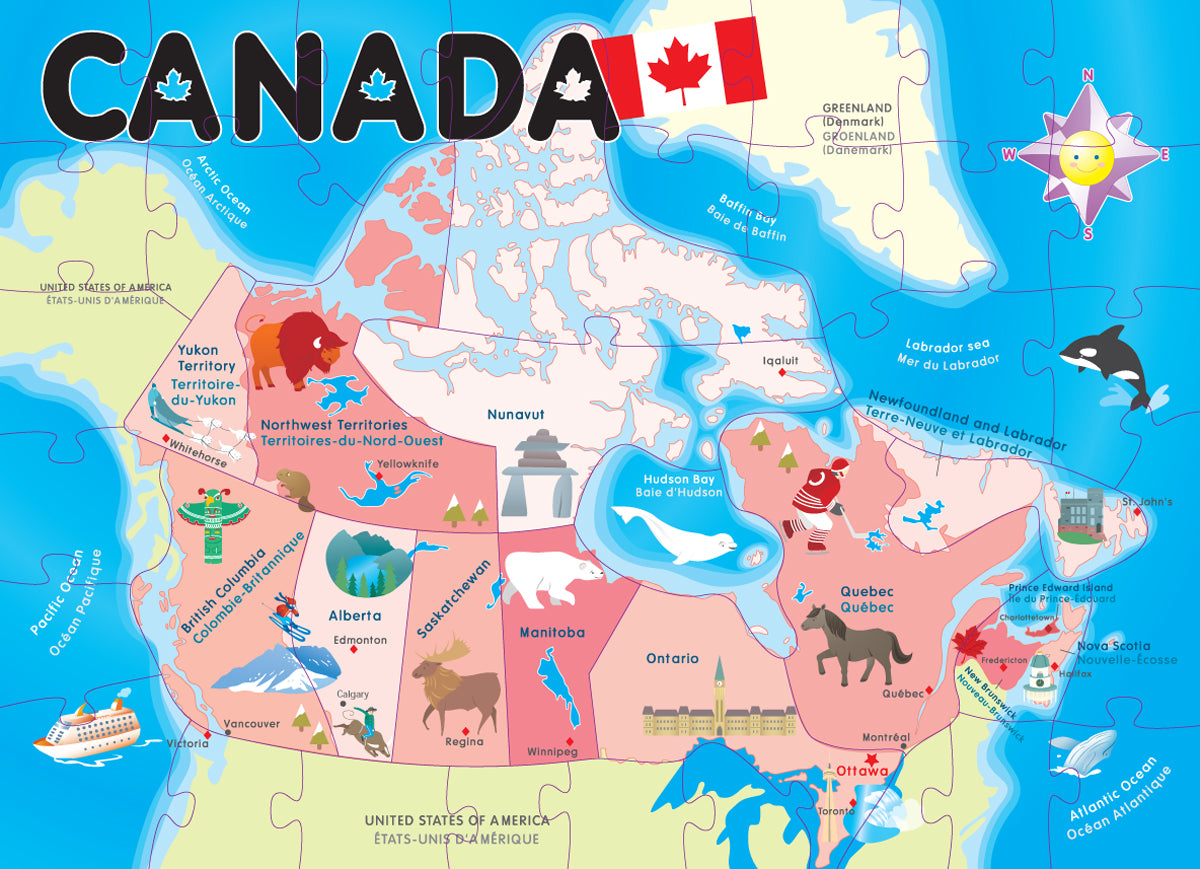 Children Map Of Canada Canada Map Floor Puzzle   Smart Play   Educational Toys