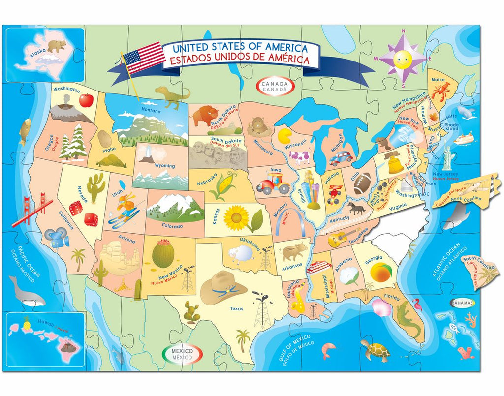 USA Map Floor Puzzle Smart Play Educational Toys - Usa map and landmarks